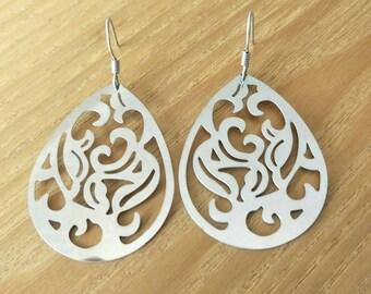 Laser Cut Silver Filigree Earrings/Filigree Earrings/Silver Earrings/Waterdrop Earrings/ TeardropSilver Chandelier Earrings