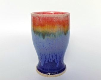 Rainbow over Blue Stoneware Tumbler - Made in UK - 300 ml - Ceramic Cup - Pottery Tumbler - Handleless - Teacup - Ceramics