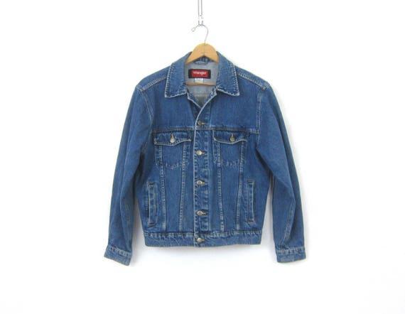 Dark Wash Denim Trucker Jean Jacket Vintage Wrangler Coat Hipster Jacket Unisex Size Small