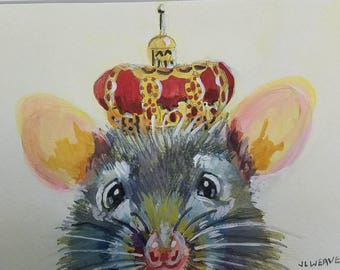 Mouse Royalty Original Watercolor and Gouache Painting