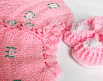 Crochet Baby Vest and Shoes Set