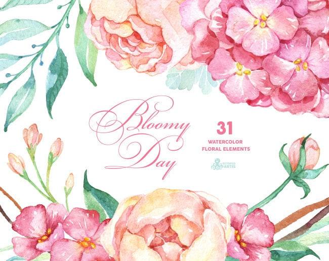 Bloomy day 31 floral elements hydrangea peonies watercolor zoom stopboris Gallery
