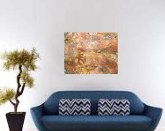 """Original Acrylic Painting Moden Contemporary Rust Blue Brown Gold Copper Yellow Orange Cream- """"Menagerie"""" 24"""" x 30"""""""