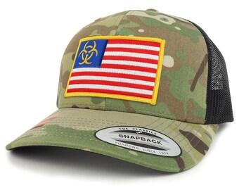 Biohazard Yellow usa Flag Camo Structured Trucker Mesh Baseball Cap (FLEX-6606MC-USA-FLAG-47)