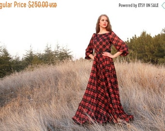 SALE Purple plaid tartan print Maxi chiffon dress