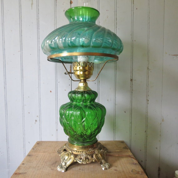 Items similar to green glass hurricane table lamp elegant vintage items similar to green glass hurricane table lamp elegant vintage lighting with swirled glass shade on etsy mozeypictures Choice Image