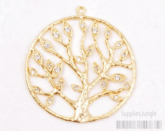 P423-MG// Matt Gold Plated Cubic Round Tree Framed Pendant, 1pc
