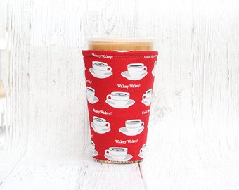 Red Coffee, Cup Cozy, Iced Coffee Cozy, Cup Sleeve, Coffee Cuff, Insulated Cup Sleeve
