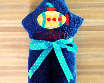 Boys Submarine Hooded Towel - Children's Towel, Hooded Towel, Submarine, Personalized, Kids Hooded Towel, Submarine Embroidered Towel