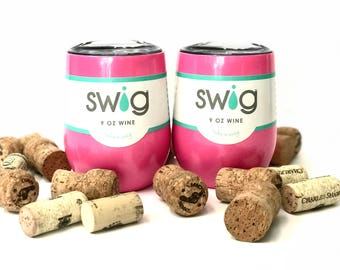 Hot Pink sparkle | Swig Wine Cups | Swig Wine Tumblers | 9 oz Swig Wine Glasses | Cup Tumbler | Powder Coated Wine Tumbler