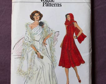 Misses 70s One Shoulder Evening Gown Maxi Dress and Stole Shawl Vintage 1970s Very Easy Vogue 9347 Sewing Pattern Size 12 B 34 Uncut and FF