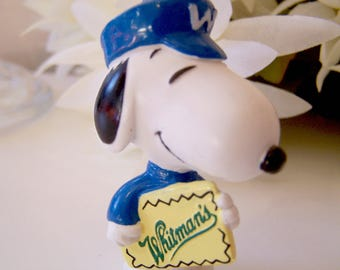 Vintage Peanuts Snoopy as the Whitman's Chocolate Delivery Man Messenger Figurine Miniature PVC Blue Suite and Cap White W