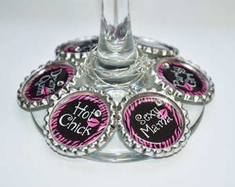 Set of 6 - PERSONALIZED WINE CHARMS - Girls Night Out - Perfect For  Bachelorette Party Favors, Wedding Favor, and Parties