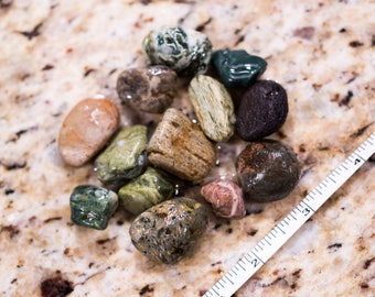 Colorful pendant sized natural tumbled river rocks, loose stones for terrariums, jewelry making, UNpolished