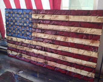 Large Hand-Carved Rustic red/blue American Wooden Flag Charred/Burnt FREE SHIPPING!!!