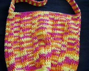 Tote, Handbag, Purse, Orange, Pink, Yellow, Women, Girls, Accessories, Cotton, Crochet