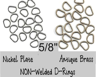 "50 PIECES - 5/8"" - Split D Rings, 5/8 inch, 15.8mm, 11 gauge, NON welded - Nickel Plate or Antique Brass"