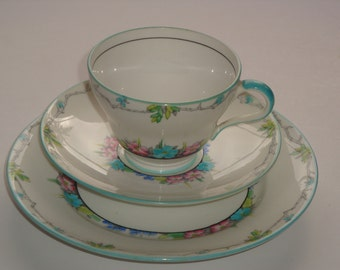 Foley England Floral Trio - Cup, Saucer and Plate