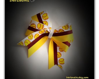 Softballs and Gold  with Burgundy/Maroon in the middle and a White Glitter Center Hairbow