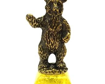Amber Lemon Pressed Stand Bronze Figurine Big Bear Souvenir & Gift Handmade
