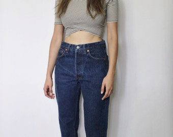 Vintage Levi's 501 Denim Jeans 26   Levis 501 High Waist Denim Jeans   Dark Blue Denim Jeans