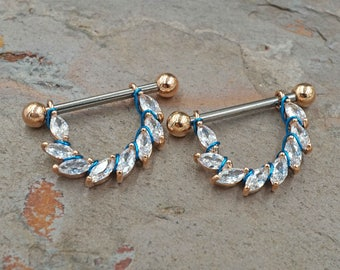 Marquise CZ Rose Gold 14g or 16g Nipple Shield Nipple Ring Nipple Piercing