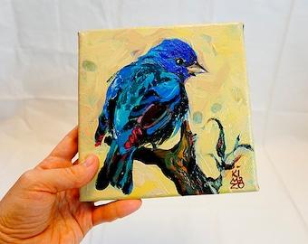 Turquoise Honeycreeper. Blue Bird Original Painting 6x6 inch on canvas by Kimazo.