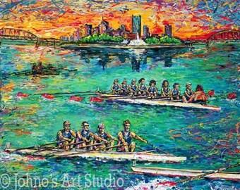 Rowing Crew, Three Rivers in Pittsburgh, Art Print by Johno Prascak