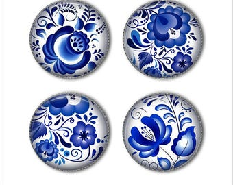 Gzhel Russian Folk Art, blue and white flowers, Russian flowers, refrigerator magnets, fridge magnets, office magnets