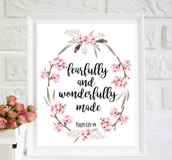 Fearfully And Wonderfully Made Baby Girl Nursery Bible Verse