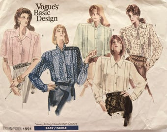 1980s Vintage Sewing Pattern Vogue 1991 Pleated Loose Fitting Shirts Blouses Extended Shoulders Vogue's Basic Design EASY Size 18-22