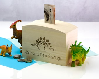 Wooden Money Box - Dinosaur Fund - Personalised Money Box - Childrens Money Box - Gift For Kids - Money Bank - Money Box - LC323