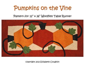 PDF pattern for a 12 x 26 inch WoolFelt table runner: Pumpkins on the Vine