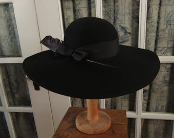 Vintage Black Felt Wide Brimmed Hat with Feathers
