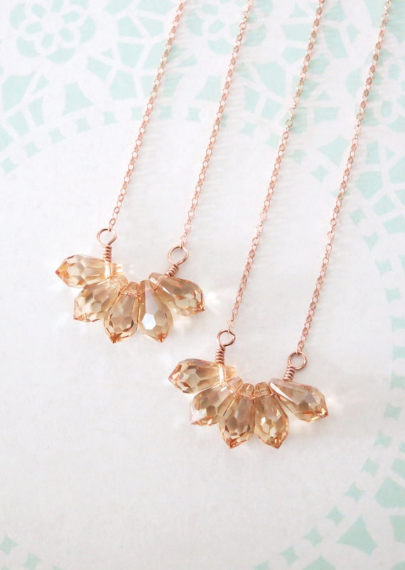 Golden Shadow Teardrop Cluster Necklace - Rose gold filled, Swarovski Crystal, Dainty, Simple, Pink Gold, Everyday Pretty - N0027RG