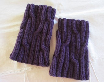 Dark Purple Boot Cuffs - Boot Toppers - Knitted Boot Cuffs -  Women's Boot Cuffs - Cable Boot Toppers - Knitted Leg Warmers