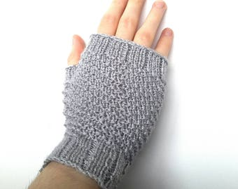 Silver grey fingerless gloves, texting gloves, fingerless mitts, sparkly, hand warmers, spiral pattern, knitted, handmade, stretchy, gift