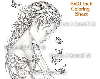 Dreamer Fairy & Butterflies Fairy Tangles Digital Printable Coloring Sheets gray-scale Images to color Adult Coloring Pages Norma J Burnell