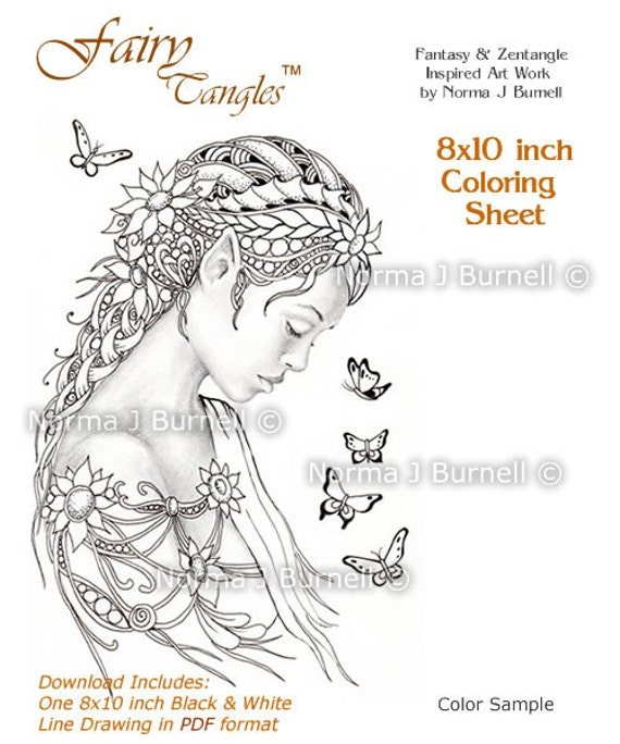 Dreamer Fairy U0026 Butterflies Fairy Tangles Digital Printable Coloring Sheets  Gray Scale Images To Color