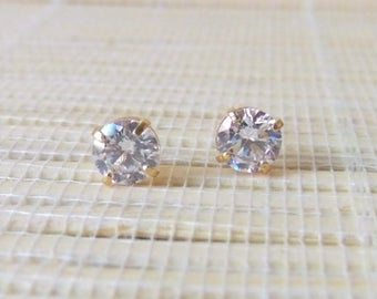 Cubic Zirconia Gold Fill earrings April Alternate Birthstone 6mm