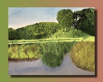 Nature landscape on linen canvas oil painting