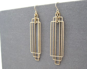 Gold Art Deco Earrings - nickel free rectangle statement jewelry, math teacher or engineer geometric gifts - Tiered
