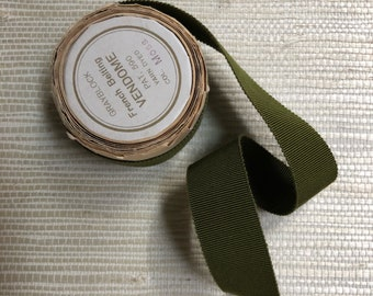 Vintage French Moss Green Petersham Ribbon
