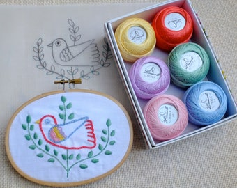 Pack of embroidery supplies with Portuguese Soul-  Pastel colors -  linen, six balls of pearl cotton size 8 and Portuguese inspired patterns