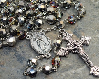 Crystal Rosary made of Czech Crystals in Crystal Volcano; Our Lady Untier of Knots; Marian Center; OL Undoer of Knots; 5 Decade Rosary