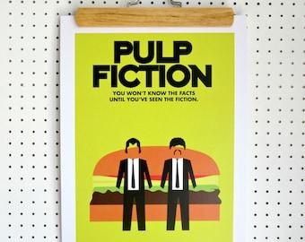 SALE Pulp Fiction Inspired Poster Print A3 Quentin Tarantino Artwork Lime Yellow Black Burger Bun John Travolta  Samuel L Jackson