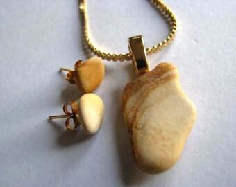 Earthenware Jewelry - Sea Glass Jewelry Set - Earthy Jewelry Set - Earth Day - Prince Edward Island Ceramic - Ocean Jewelry Gifts