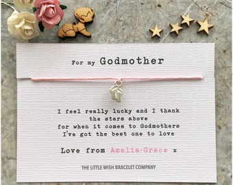 FOR MY GODMOTHER Gift Wish Bracelet Gift Christening Baptism Naming Ceremony, Add a Name & Custom Options