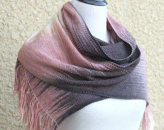 Gift for mom, Woven long scarf, gift for wife, pashmina scarf, women wrap gradient color pink cream dark grey scarf with fringe