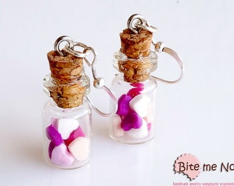 Heart Candies in Mini Glass Bottles Hook Earrings, Food Jewelry, Tiny Bottles, Candy Jar Earrings, Glass Vial Earrings, Valentine Gift